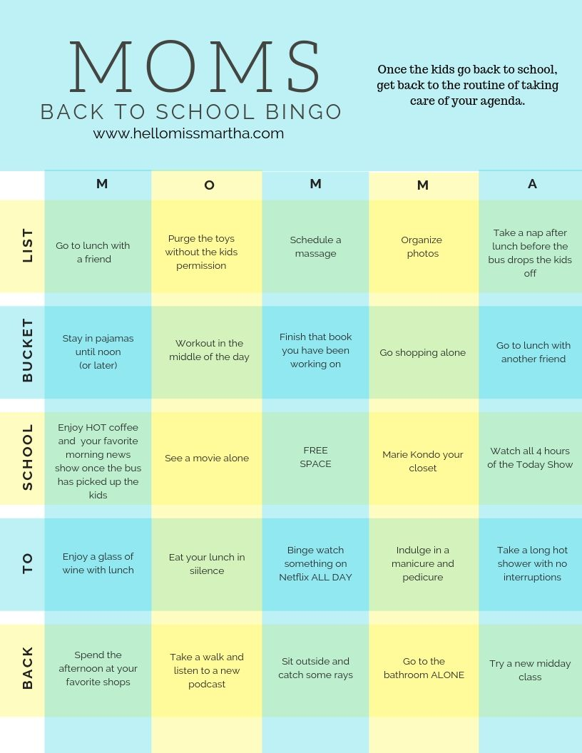 graphic regarding Back to School Bingo Printable referred to as Mothers Again-in direction of-College or university Bucket Listing Bingo Printable